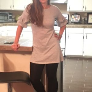 Gray ruffled sleeve shirt dress.